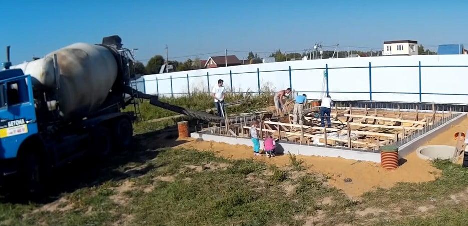 Приготовление бетона — ручным миксером, в бетономешалке и бетон с доставкой от завода. Пропорции на 1м³.