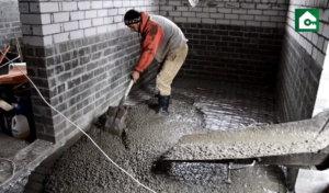 заливка бетона на пол, через окно