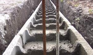 фундамент несъемная опалубка, заливка бетона